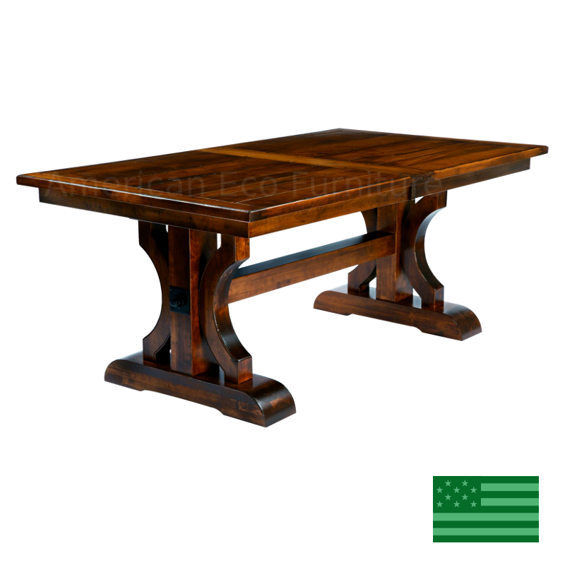 Brea Trestle Dining Table Made In Usa   Solid Wood For 2017 Haddington 42'' Trestle Dining Tables (Photo 3 of 15)