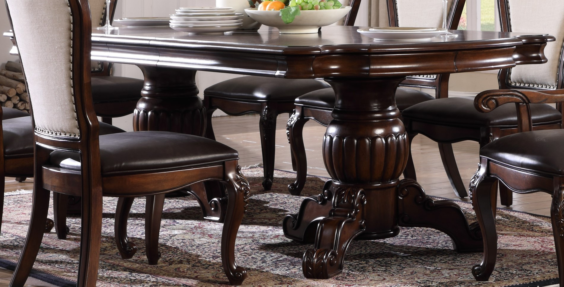 Brentwood Traditional 5Pc Double Pedestal Dining Table Set Pertaining To Most Recent Villani Pedestal Dining Tables (View 7 of 15)