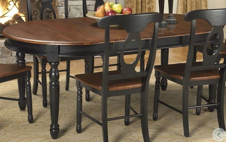 """British Isles 76"""" Oak Black Extendable Oval Dining Table In 2018 Villani Drop Leaf Rubberwood Solid Wood Pedestal Dining Tables (View 14 of 15)"""