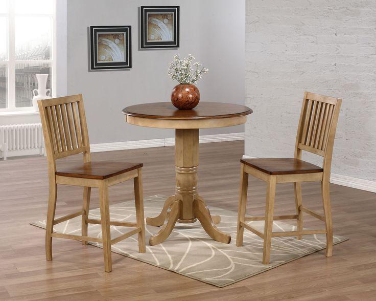 Brookdale 3 Piece Counter Height Dining Set | Pedestal Regarding Current Bushrah Counter Height Pedestal Dining Tables (View 2 of 15)