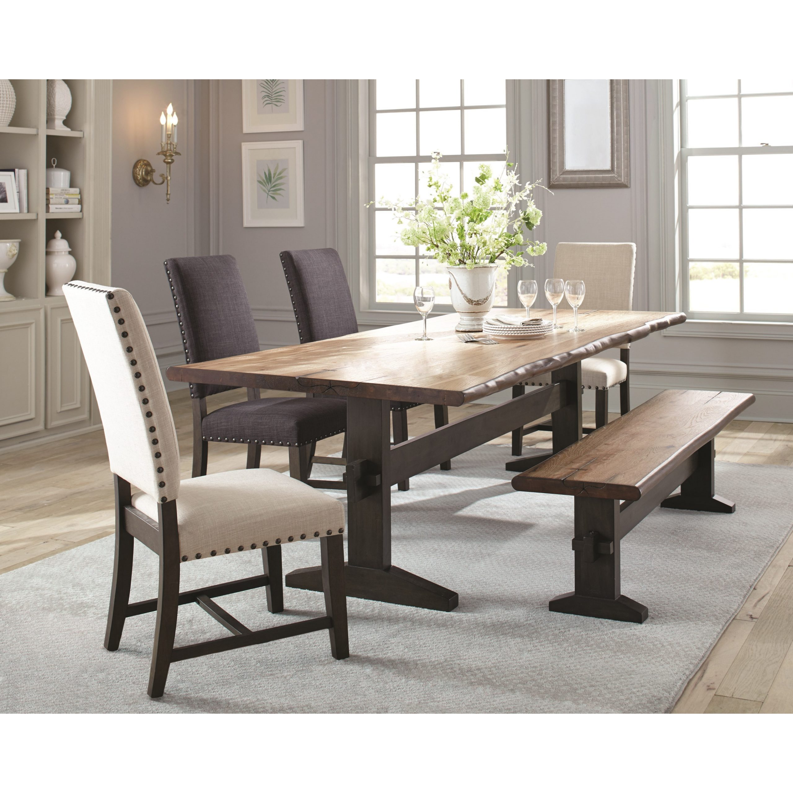 Burnham Two Tone Live Edge Dining Table With Trestle Base In Best And Newest Baring 35'' Dining Tables (View 12 of 15)