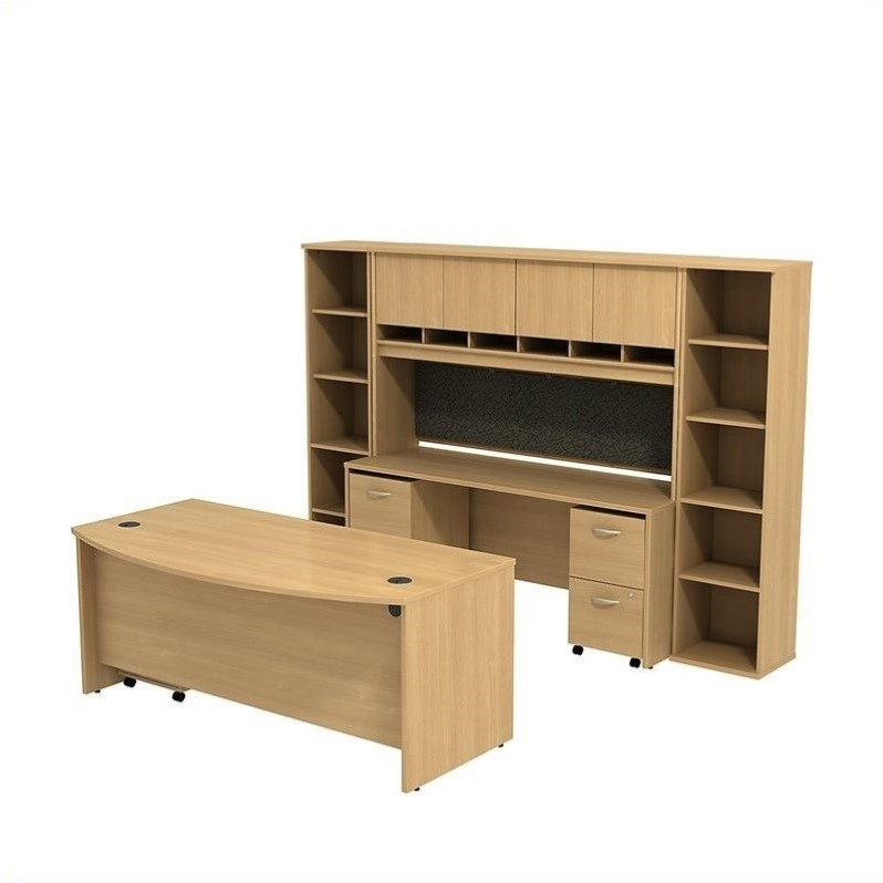 """Bush Bbf Series C 72"""" Desk With Credenza And Storage In Regarding Latest 72"""" L Breakroom Tables And Chair Set (View 5 of 15)"""