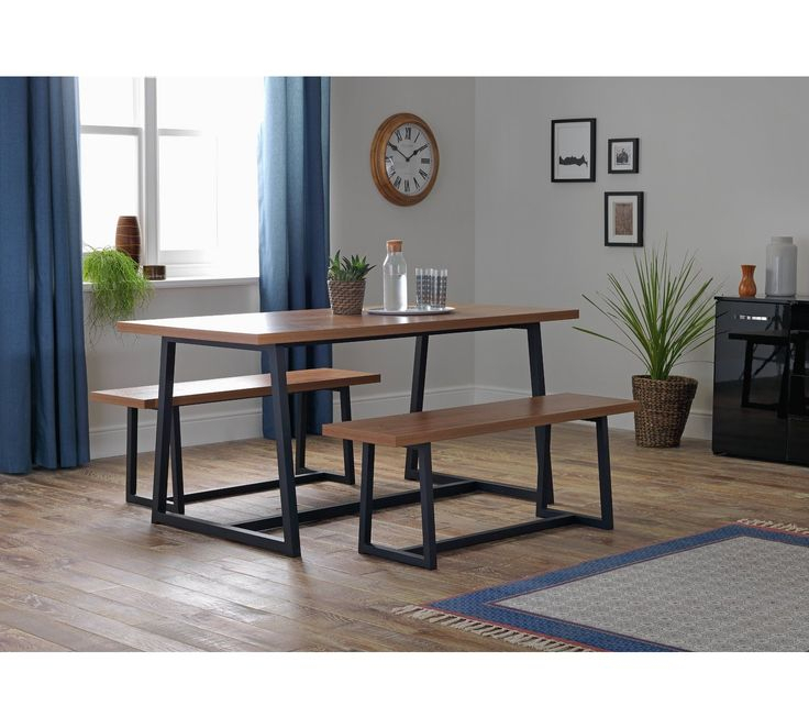 Buy Argos Home Nomad 160Cm Dining Table And 2 Benches At In Most Up To Date Nalan 38'' Dining Tables (View 5 of 15)