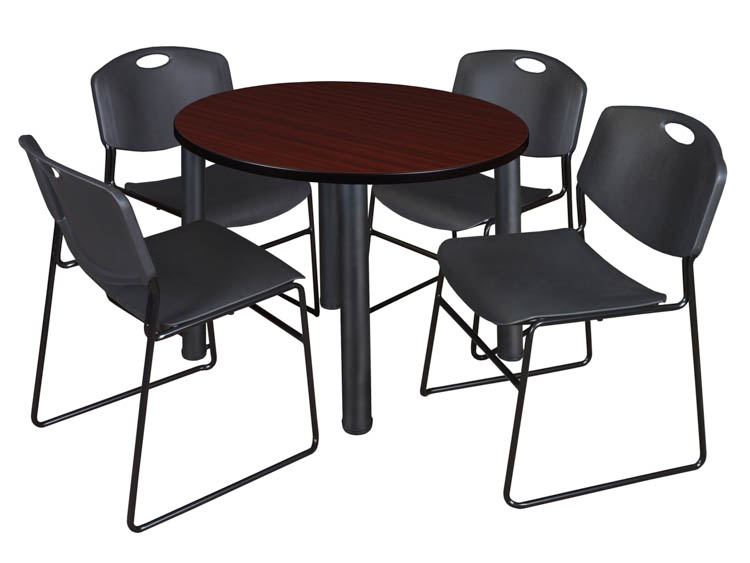 Buy Cheap 42″ Round Breakroom Table Mahogany/ Black & 4 Inside Most Popular Round Breakroom Tables And Chair Set (View 8 of 15)