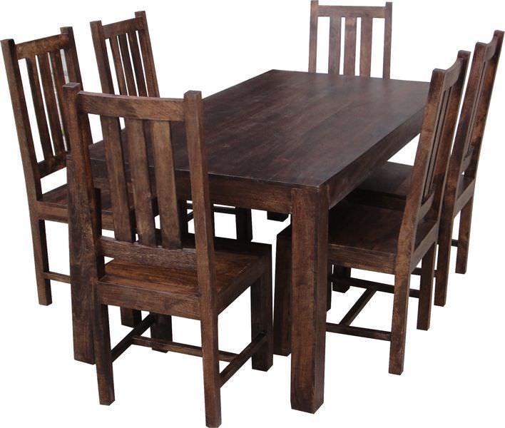 Buy Jaipur Dakota Walnut Mango Wood Large Dining Set With Within 2018 Carelton 36'' Mango Solid Wood Trestle Dining Tables (View 13 of 15)