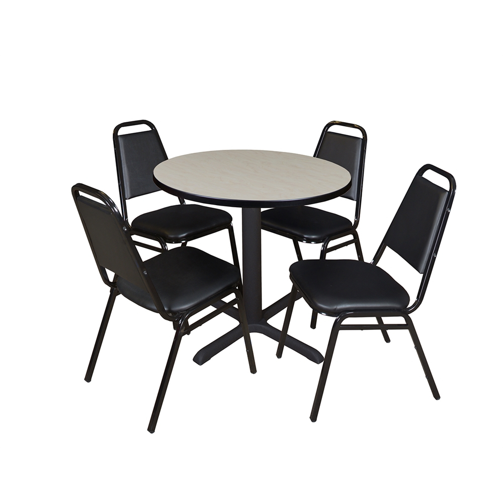 """Cain 30"""" Round Breakroom Table Maple & 4 Restaurant Stack Within Most Recent Round Breakroom Tables And Chair Set (View 4 of 15)"""