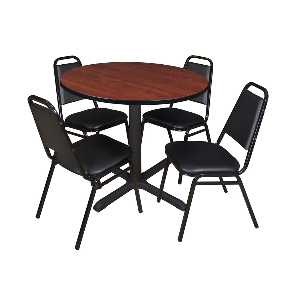 """Cain 36"""" Round Breakroom Table Cherry & 4 Restaurant Within Most Current Round Breakroom Tables And Chair Set (View 5 of 15)"""