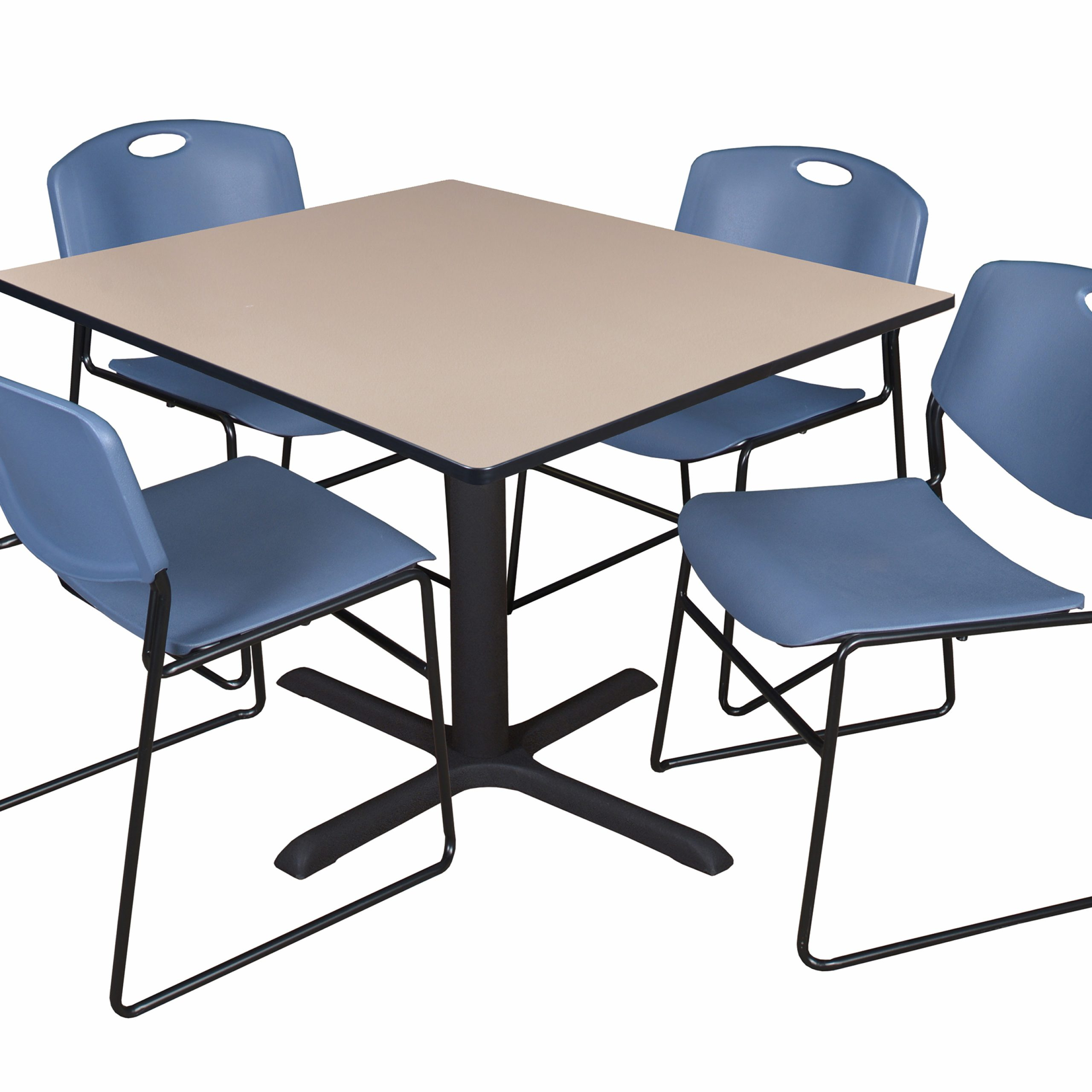 """Cain 48"""" Beige Square Breakroom Table And 4 Zeng Stack Throughout Latest Mode Square Breakroom Tables (View 8 of 15)"""
