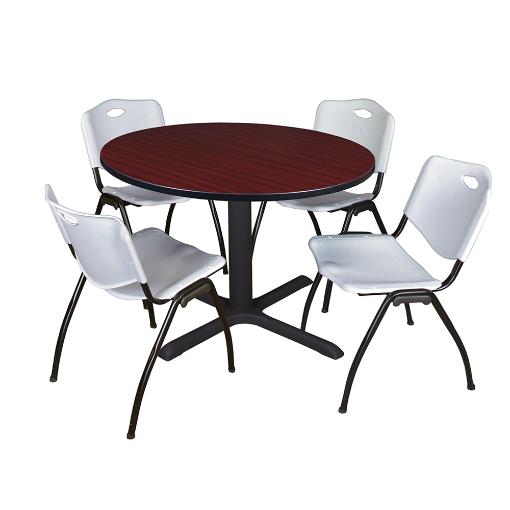 """Cain 48"""" Round Breakroom Table Mahogany & 4 'M' Stack For Most Up To Date Mode Round Breakroom Tables (View 4 of 15)"""