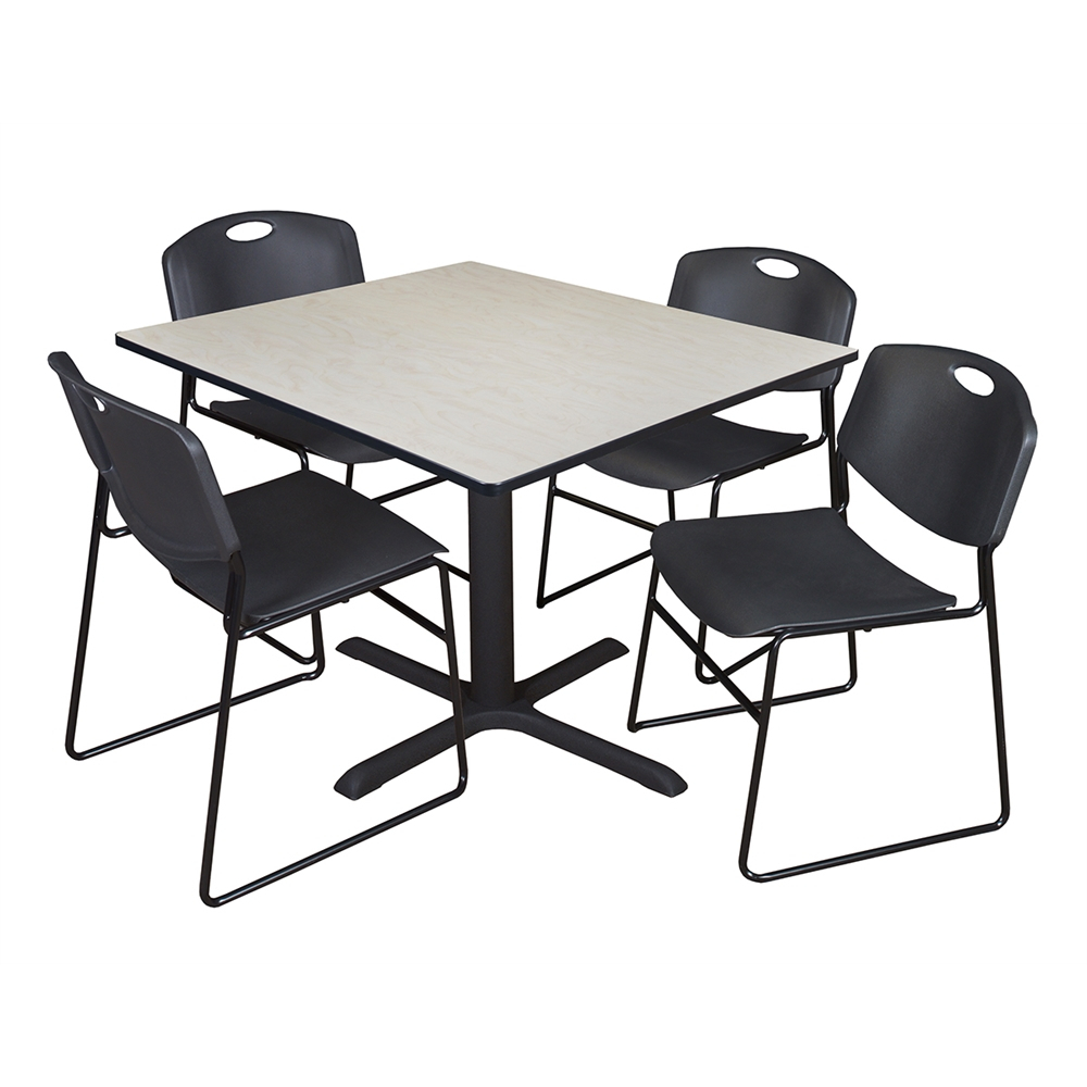 """Cain 48"""" Square Breakroom Table  Maple & 4 Zeng Stack Within Best And Newest Mode Square Breakroom Tables (View 4 of 15)"""