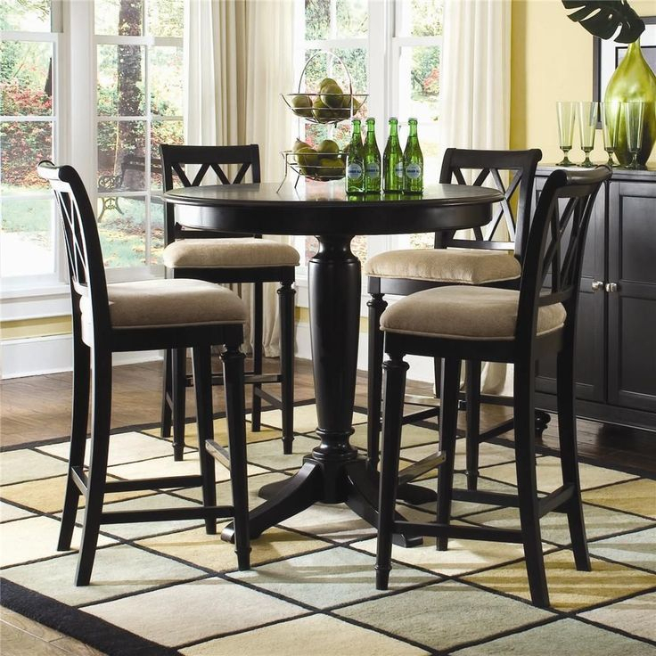 Camden – Dark Bar Height Pedestal Table With Stools Regarding Most Popular Nakano Counter Height Pedestal Dining Tables (View 5 of 15)