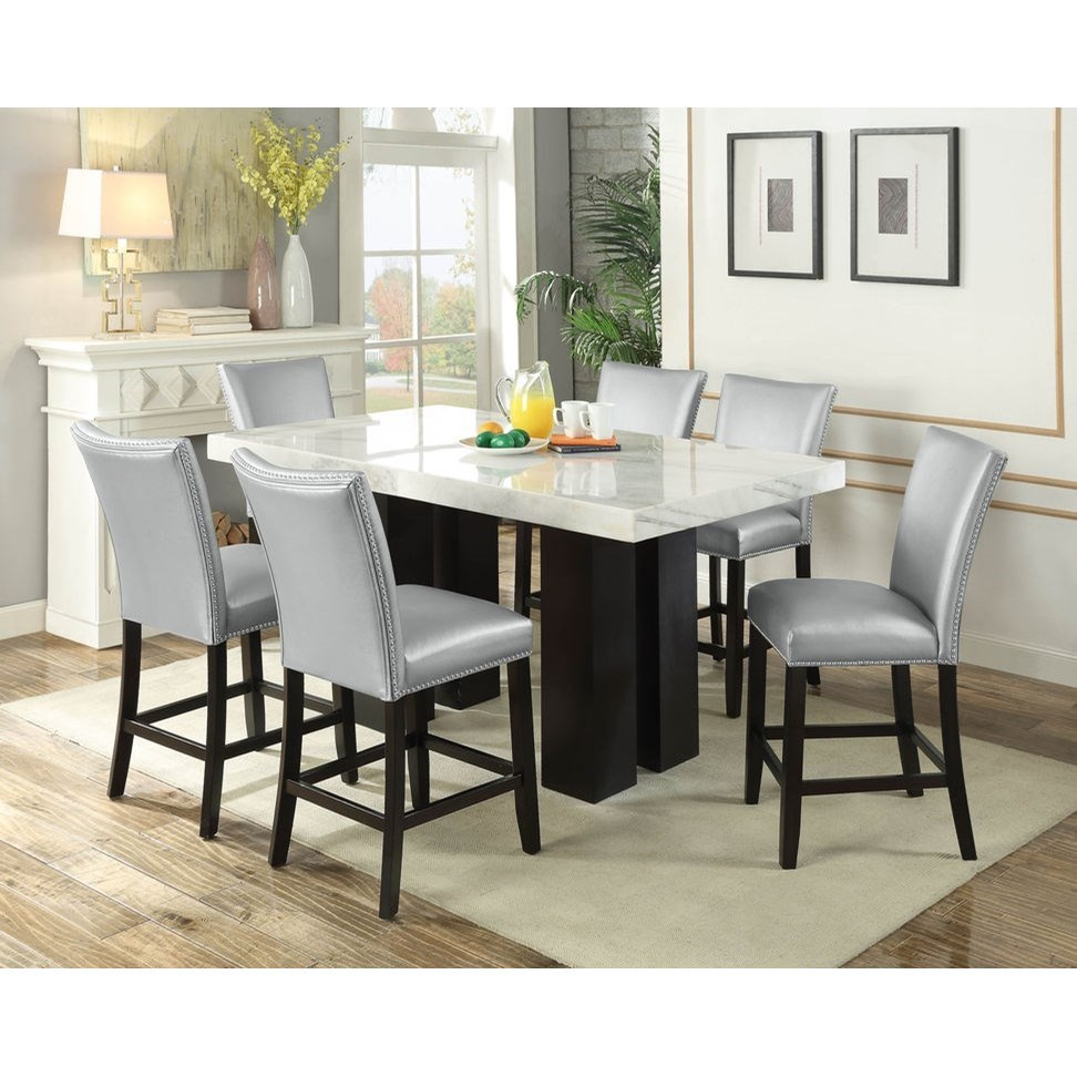 Camila Rectangular White Marble Counter Height Dining With Current Romriell Bar Height Trestle Dining Tables (View 9 of 15)