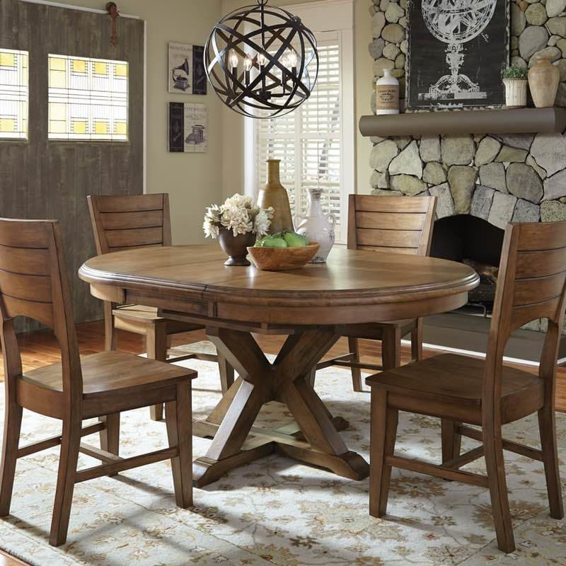 Canyon Pecan Extension Pedestal Dining Table Throughout Most Current Pedestal Dining Tables (View 13 of 15)