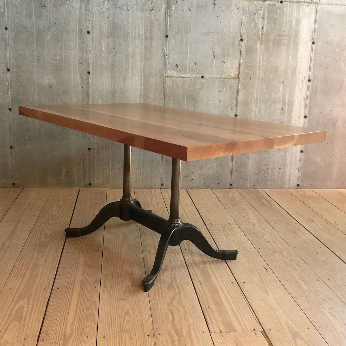 Cast Iron Table Base With Cherry Wood Top (With Images Regarding 2018 Dellaney 35'' Iron Dining Tables (View 5 of 15)