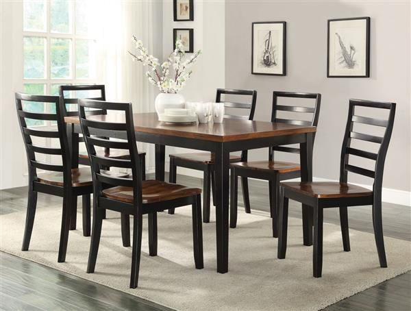 Casual Black Cherry Acacia Wood 7Pc Larkin Dining Set Regarding Most Up To Date Larkin  (View 14 of 15)