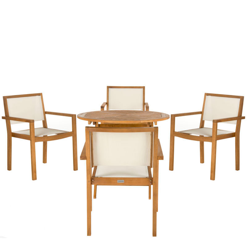 Chante 35.4 Inch Dia Round Table 5 Piece Dining Set Throughout Most Recently Released Akito  (View 7 of 15)