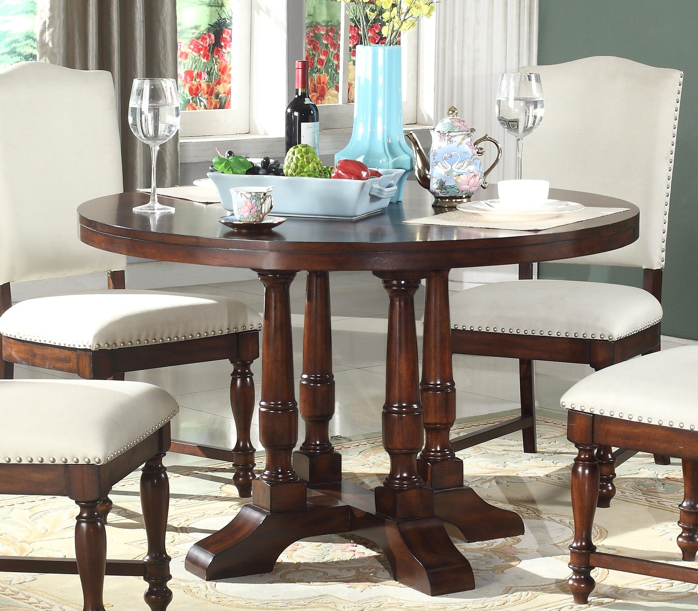"""Charlotte Classic 48"""" Round Pedestal Dining Table In Rich For Recent Villani Pedestal Dining Tables (View 3 of 15)"""