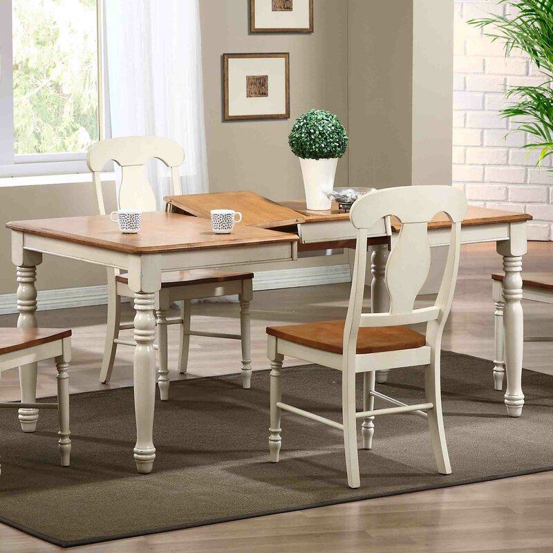 Charlton Home Maile Butterfly Leaf Rubberwood Solid Wood Intended For Recent Warnock Butterfly Leaf Trestle Dining Tables (View 9 of 15)