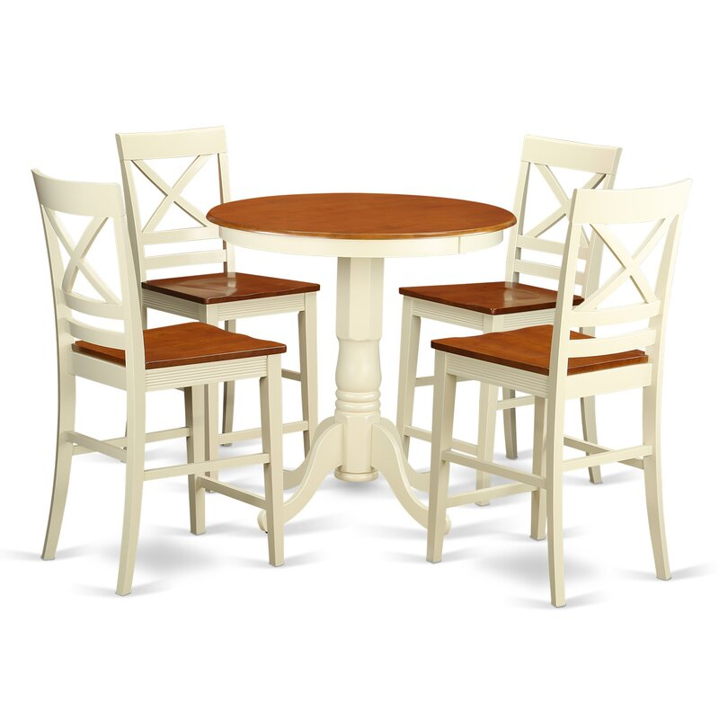 Featured Image of Wes Counter Height Rubberwood Solid Wood Dining Tables