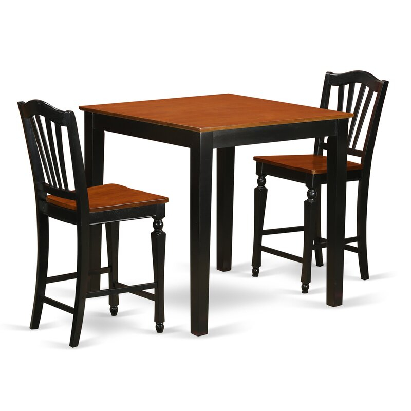Charlton Home® Steffan 3 – Piece Counter Height Solid Wood Pertaining To Latest Wes Counter Height Rubberwood Solid Wood Dining Tables (View 7 of 15)