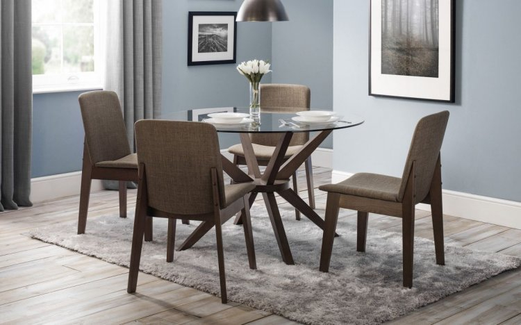 Chelsea Glass Dining Set – 4 Chairs Inside Most Popular Zeus  (View 11 of 15)