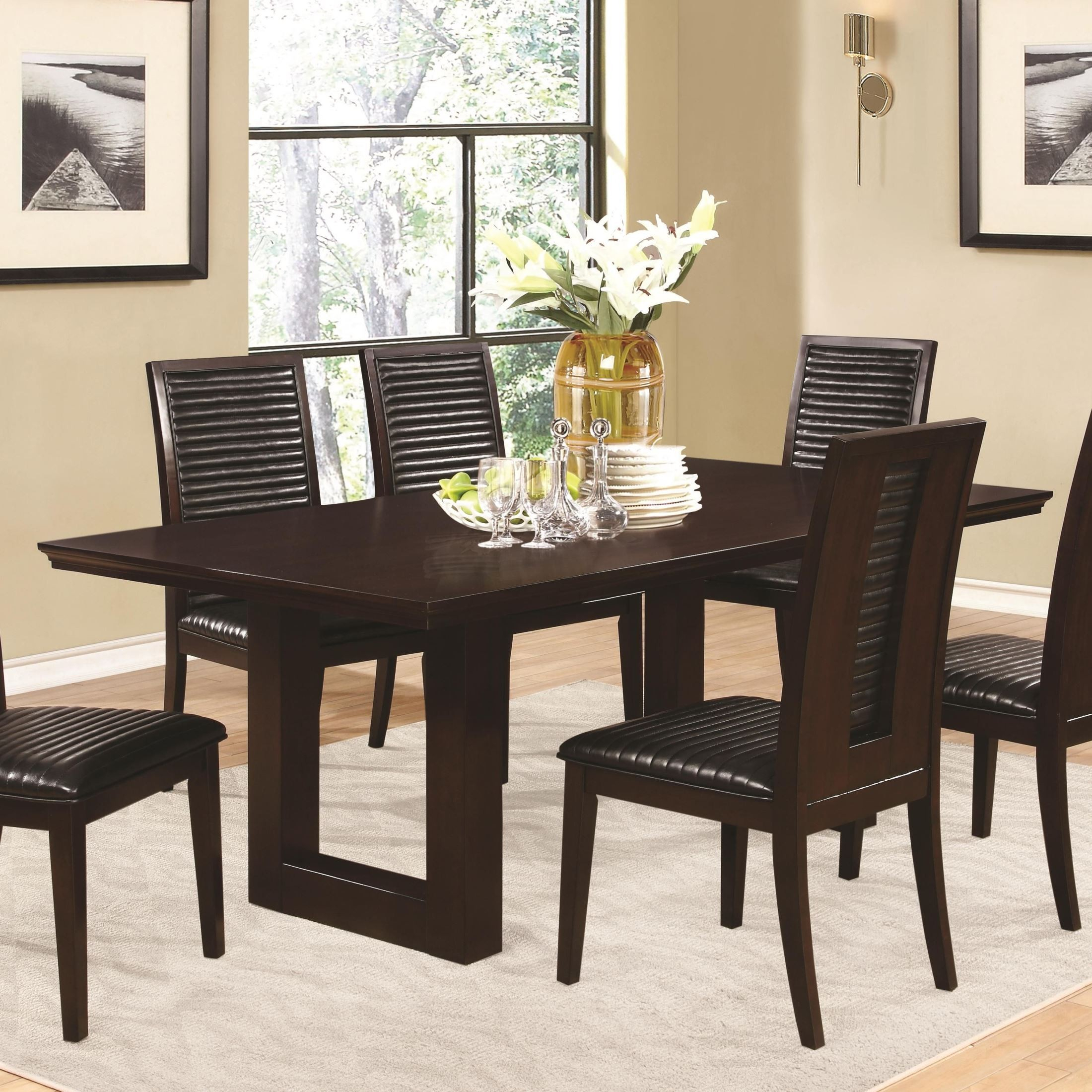 Chester Rectangular Pedestal Dining Table From Coaster Throughout Most Current 47'' Pedestal Dining Tables (View 6 of 15)
