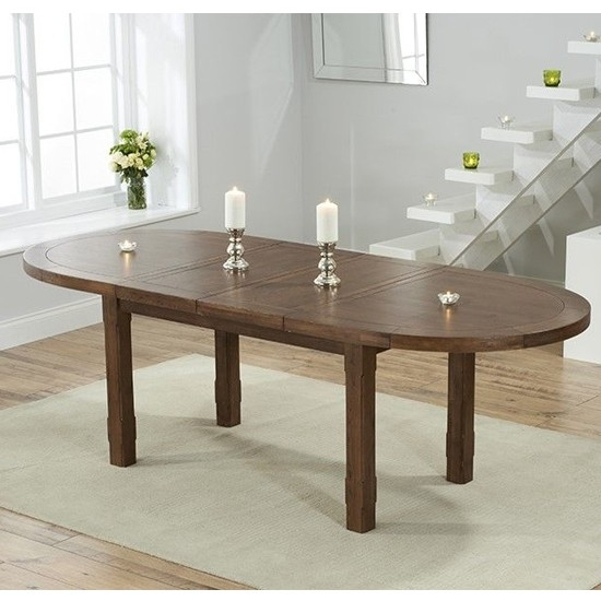 Cheyenne Extending Oval Wooden Dining Table In Dark Oak With Best And Newest Eleni 35'' Dining Tables (View 8 of 15)