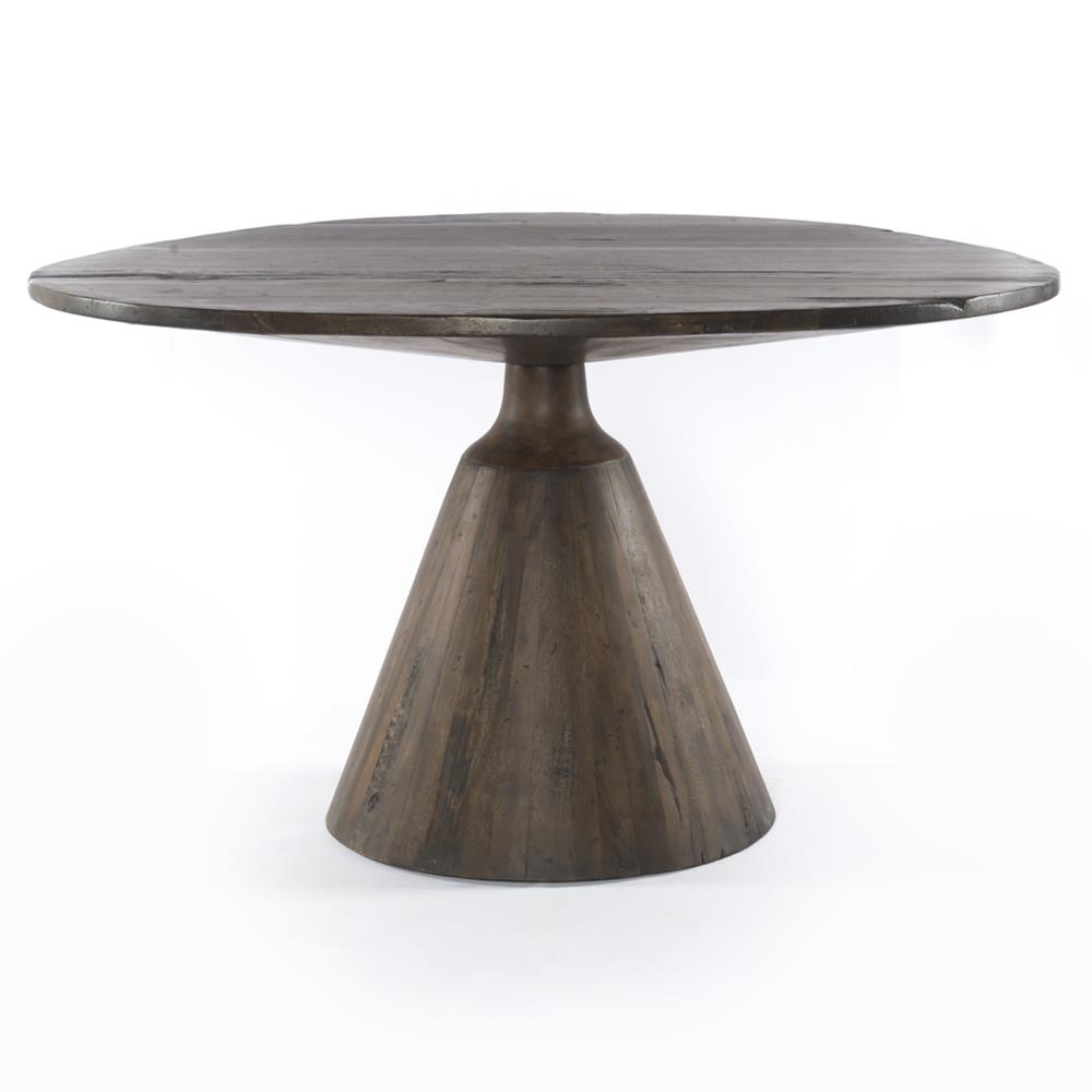 Chip Rustic Lodge Reclaimed Wood Round Pedestal Dining Table For Recent Kirt Pedestal Dining Tables (View 15 of 15)