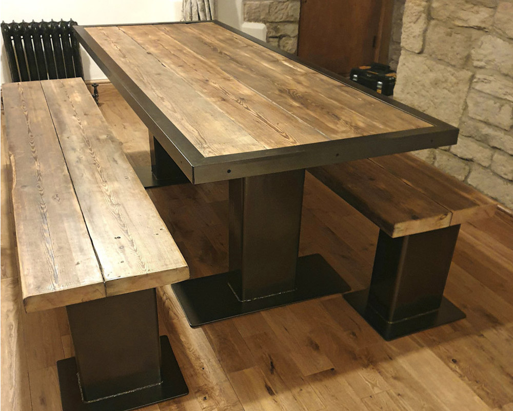 Chunky Solid Reclaimed Pine On Thick Tube Natural Steel Within Recent Finkelstein Pine Solid Wood Pedestal Dining Tables (View 7 of 15)