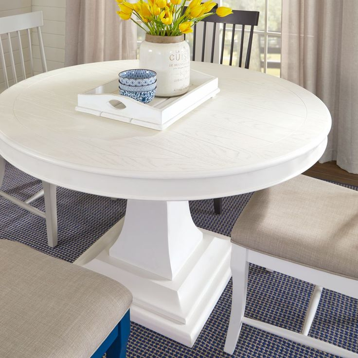 Cindy Crawford Home Cape Cottage White Round Dining Table In Most Current 47'' Pedestal Dining Tables (View 15 of 15)