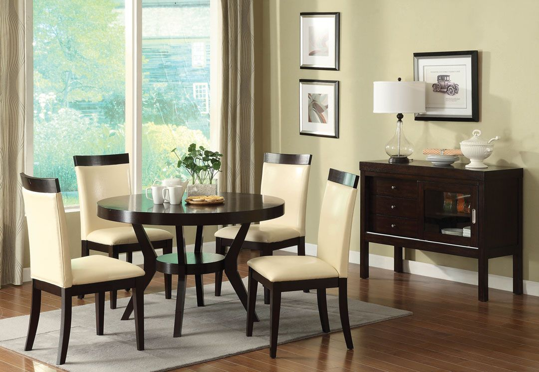 """Cm3423T 5Pc 5 Pc Downtown I Espresso Finish Wood 48"""" Round In Current Steven 39'' Dining Tables (View 3 of 15)"""