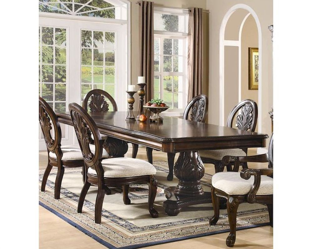 Coaster Double Pedestal Dining Table Tabitha Co 101037 Inside Best And Newest 47'' Pedestal Dining Tables (View 9 of 15)
