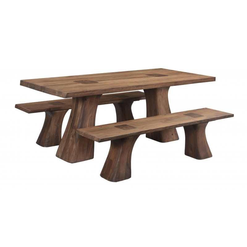 Contemporary Solid Acacia Wood Dining Table Set – Matte Inside Newest Folcroft Acacia Solid Wood Dining Tables (View 11 of 15)