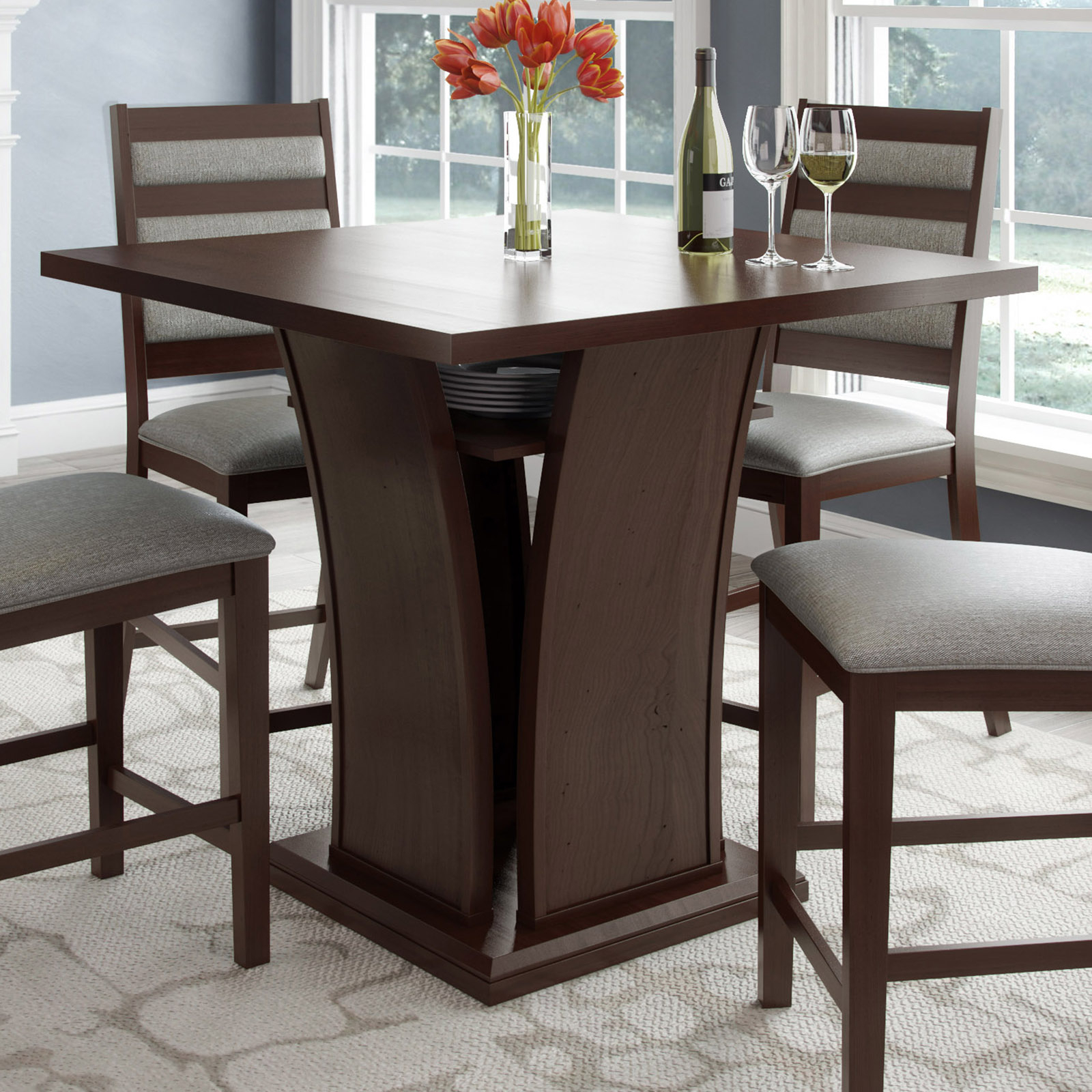 Corliving Bistro Counter Height Dining Table With Curved In 2018 Nakano Counter Height Pedestal Dining Tables (View 2 of 15)