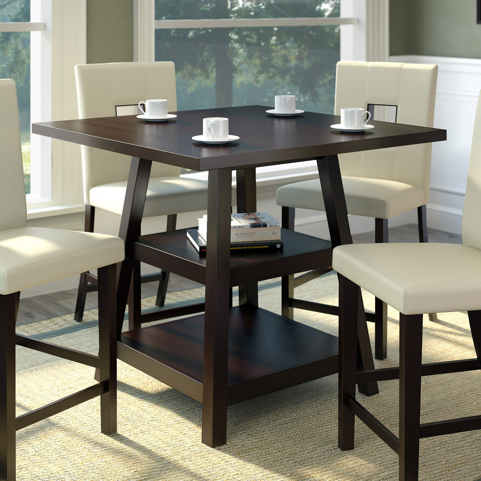 Corliving Bistro Counter Height Dining Table With Shelves Regarding Current Romriell Bar Height Trestle Dining Tables (View 6 of 15)