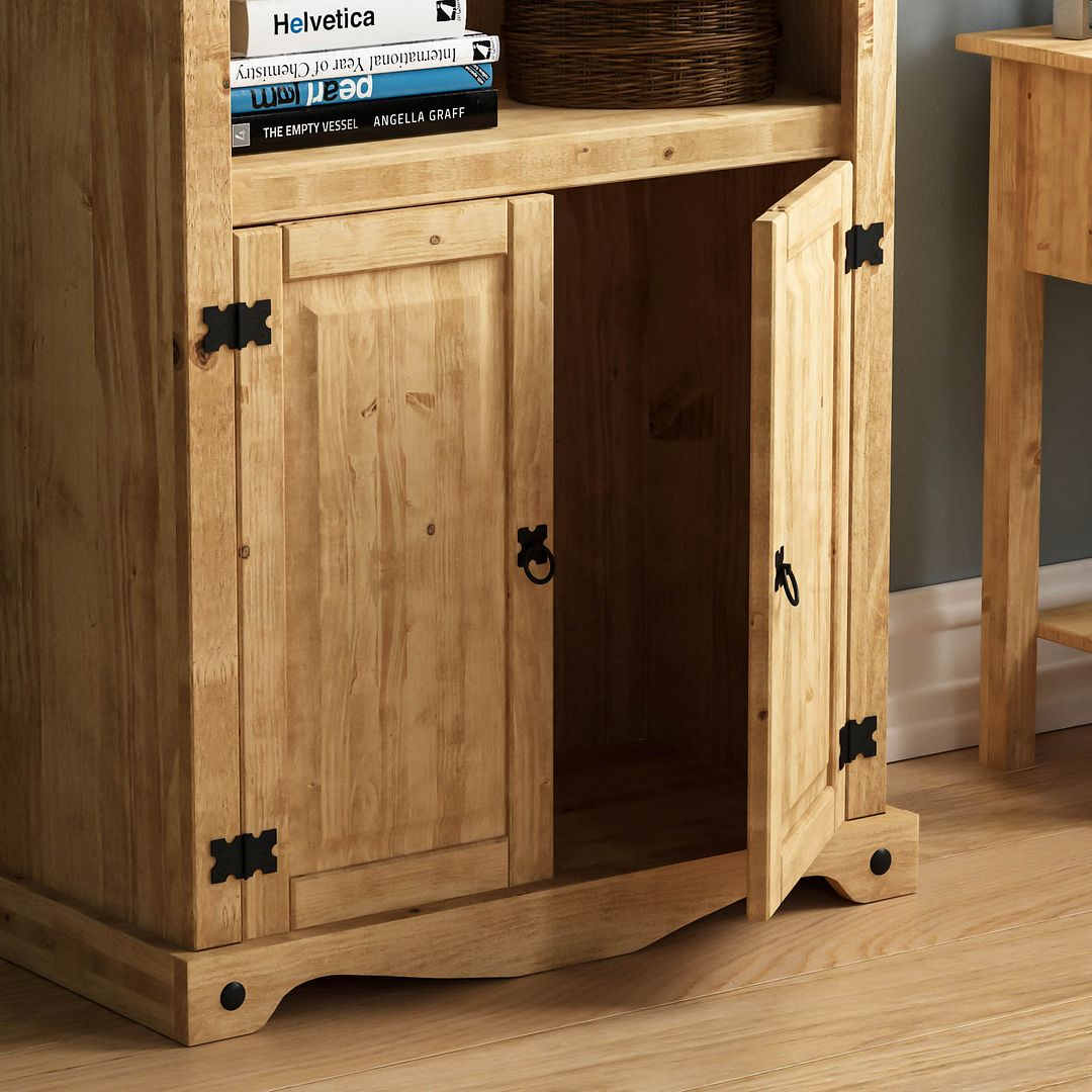 Corona Panama Bookcase Display Unit Solid Pine Waxed In Newest Nolea  (View 9 of 15)