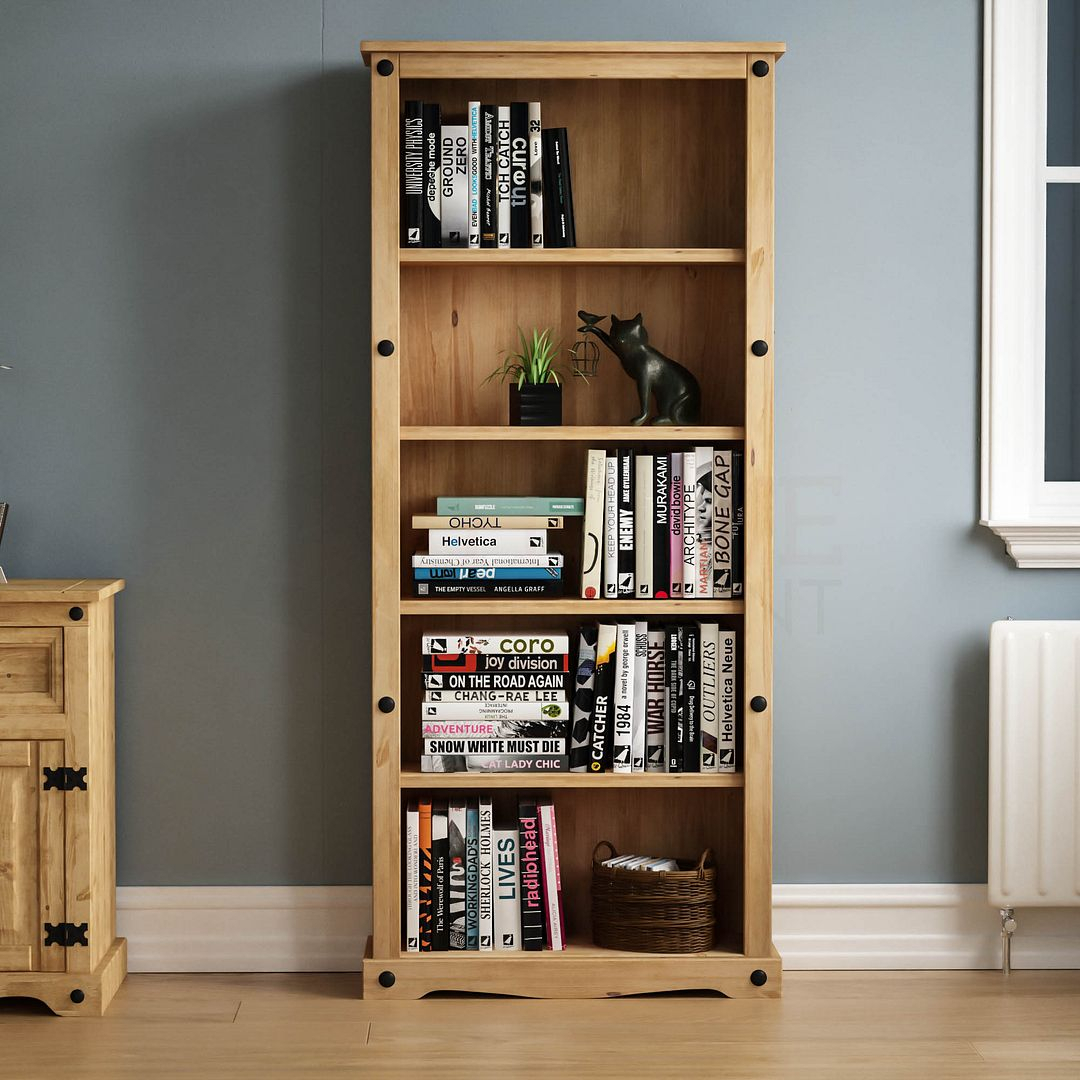 Corona Panama Bookcase Display Unit Solid Pine Waxed Pertaining To Most Current Nolea  (View 6 of 15)