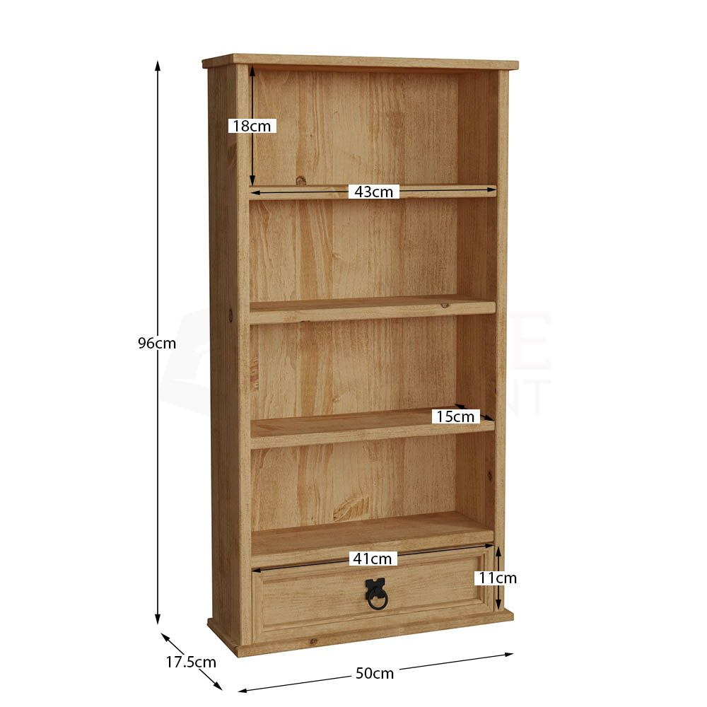 Corona Panama Bookcase Display Unit Solid Pine Waxed Pertaining To Most Popular Cammack (View 7 of 15)