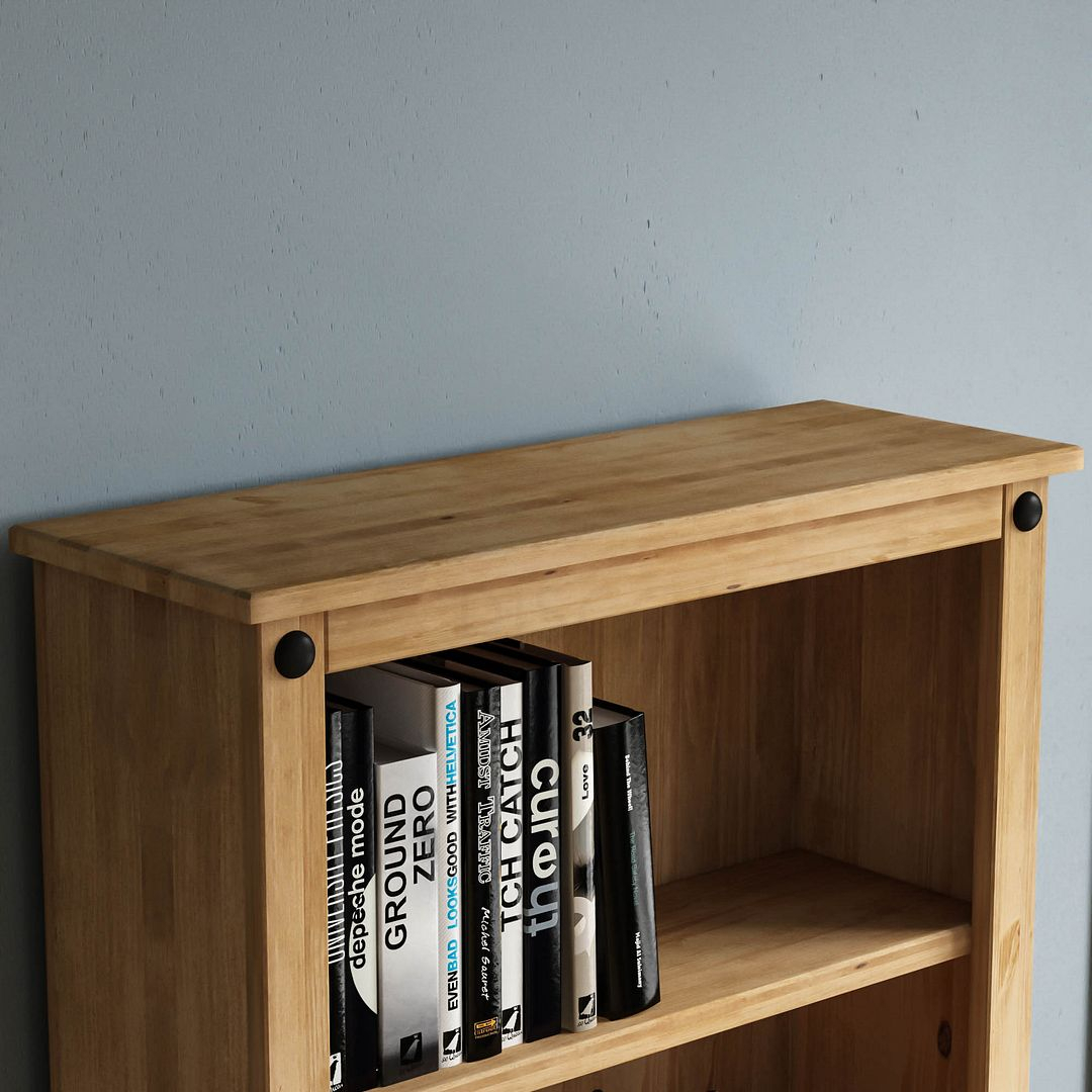 Corona Panama Bookcase Display Unit Solid Pine Waxed Pertaining To Recent Cammack (View 8 of 15)