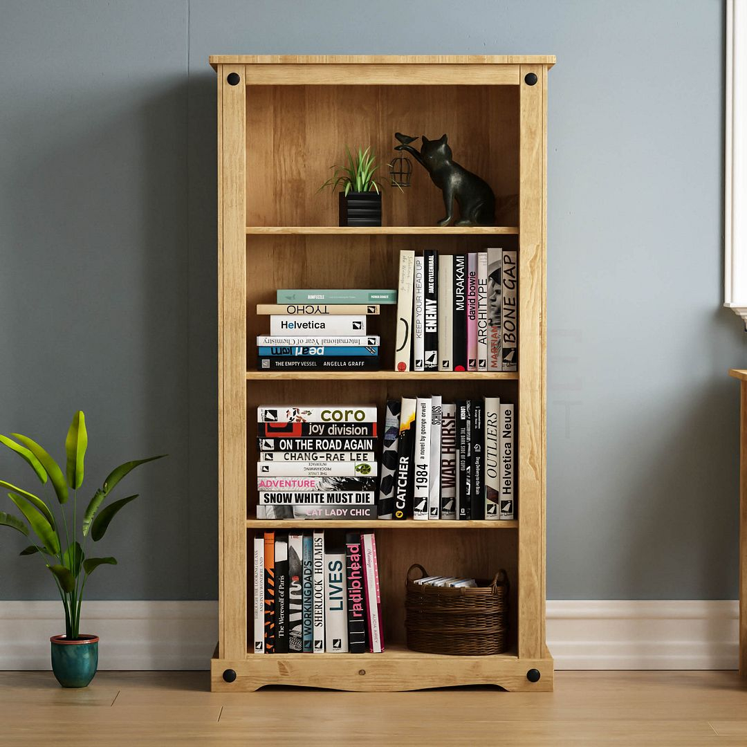 Corona Panama Bookcase Display Unit Solid Pine Waxed With Regard To Most Recently Released Cammack (View 10 of 15)
