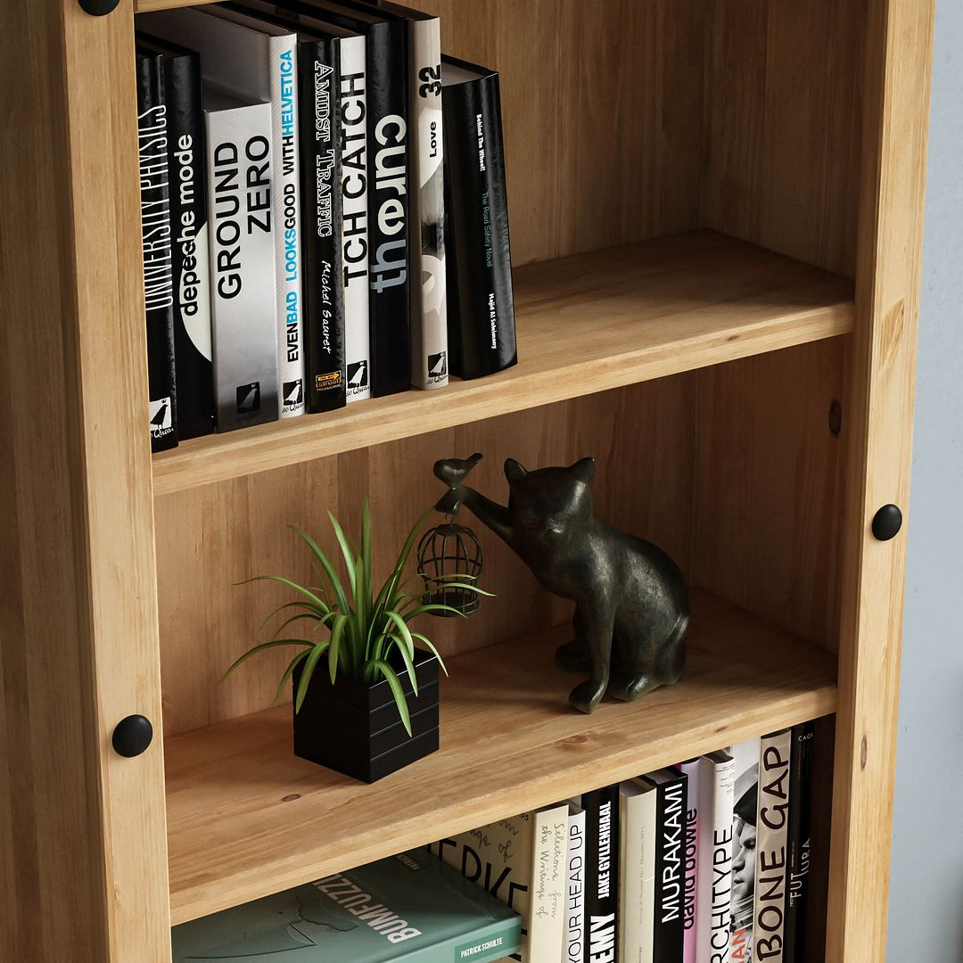 Corona Panama Bookcase Display Unit Solid Pine Waxed With Regard To Recent Nolea  (View 8 of 15)