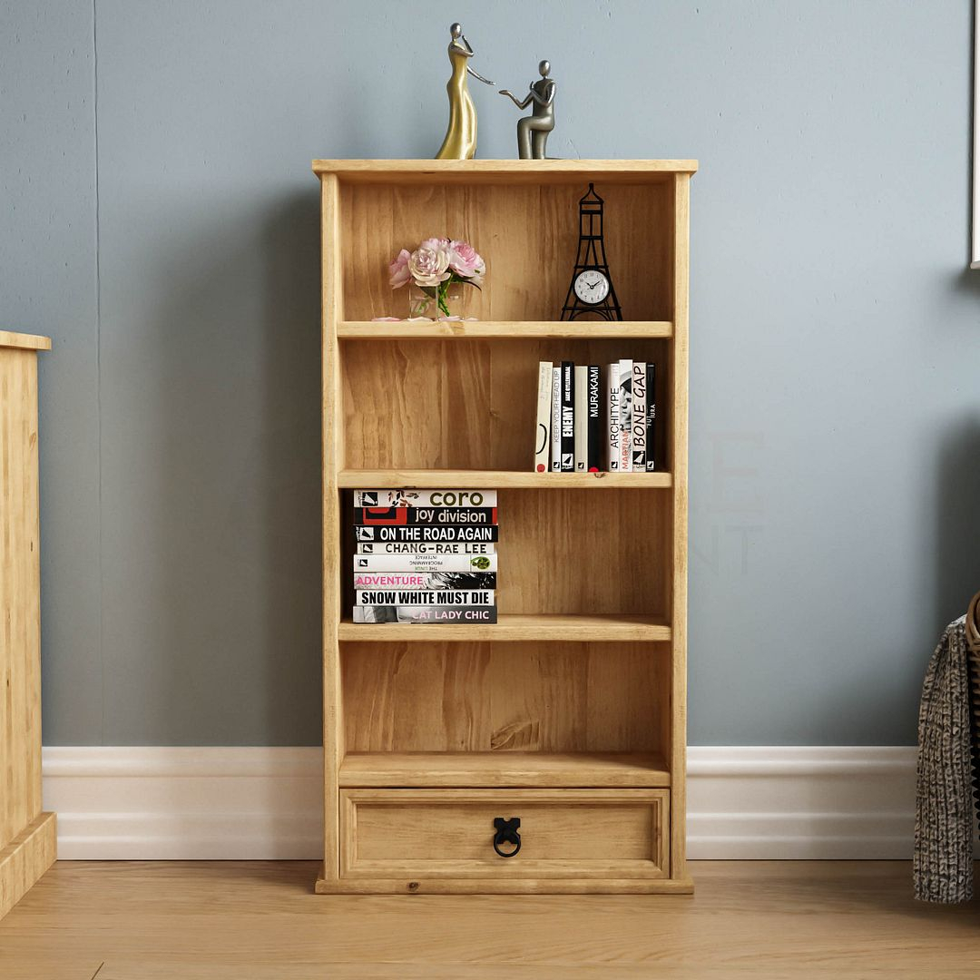Corona Panama Bookcase Display Unit Solid Pine Waxed Within Most Recently Released Cammack (View 5 of 15)