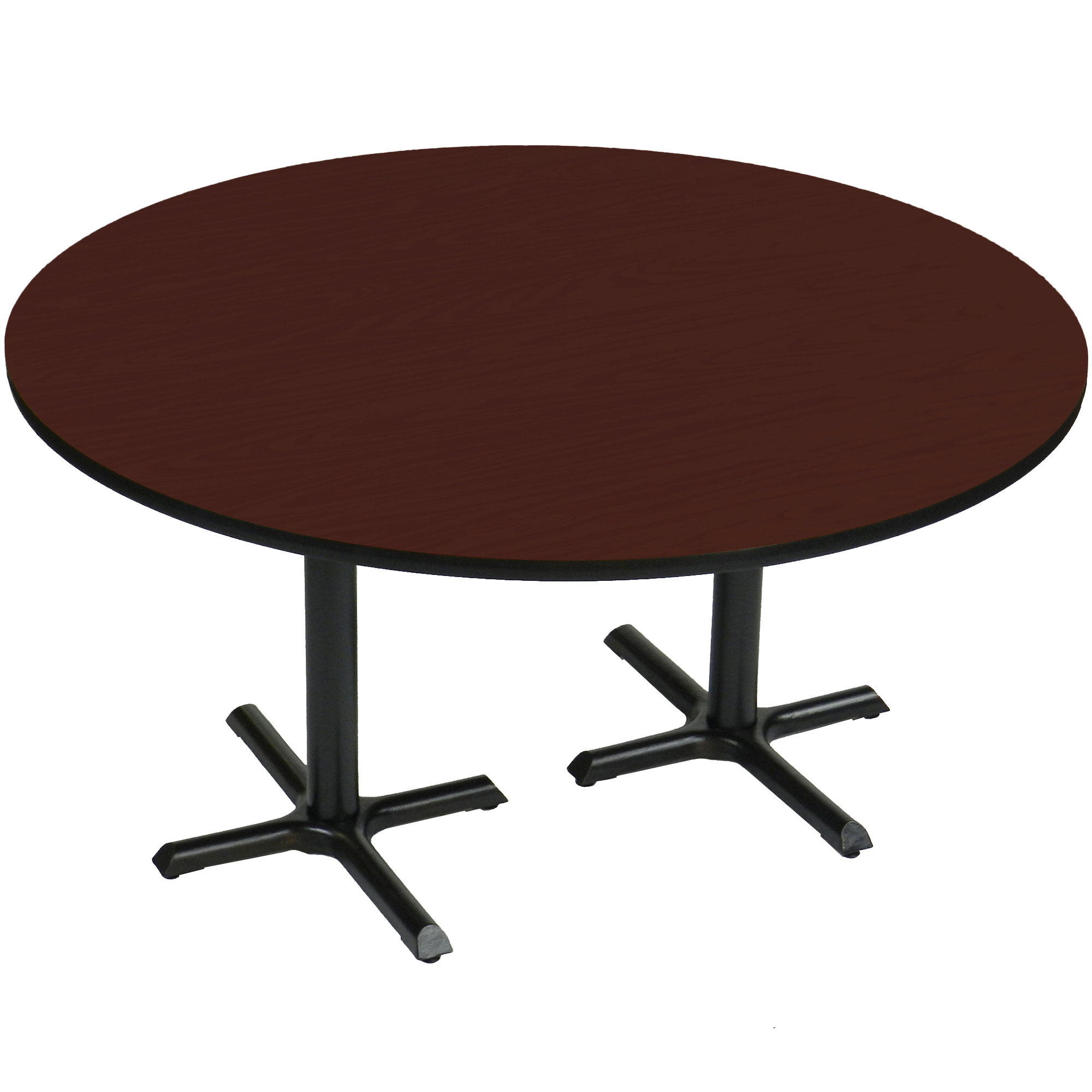"""Correll Bct60R 21 60"""" Round Cherry Finish / Black Table Regarding Most Recent Mode Round Breakroom Tables (View 9 of 15)"""