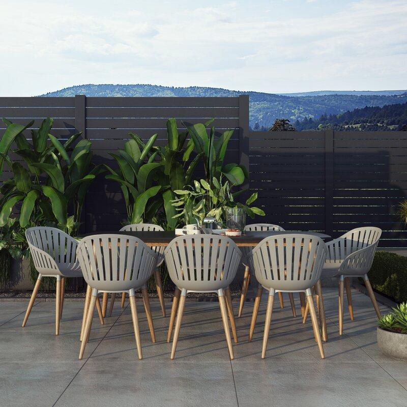 Corrigan Studio® Aubriella Outdoor 9 Piece Dining Set Regarding 2017 Corrigan Studio Fawridge Dining Tables (View 2 of 15)