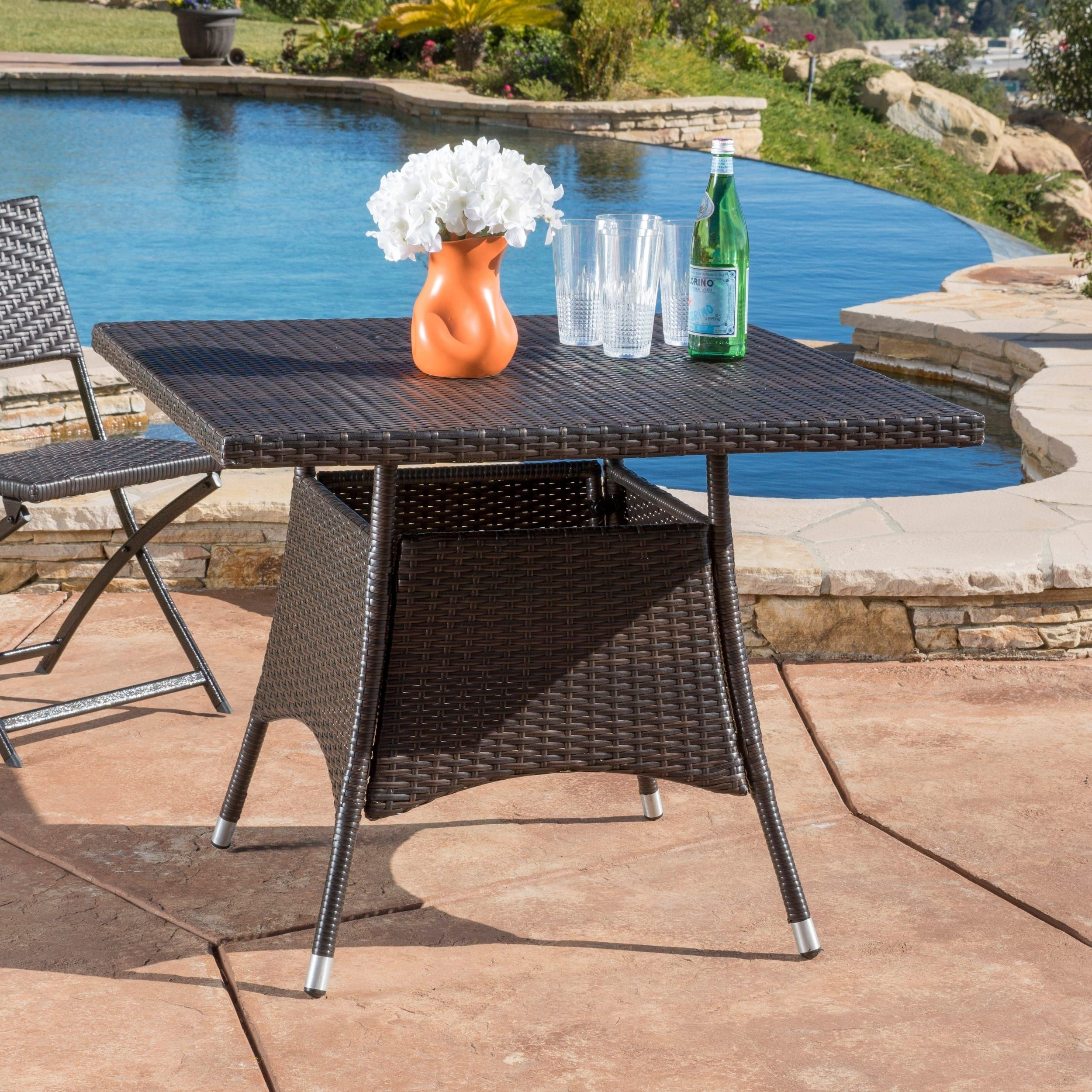 Corsica Outdoor Wicker Square Dining Table (Only) Within Most Popular Dellaney 35'' Iron Dining Tables (View 15 of 15)