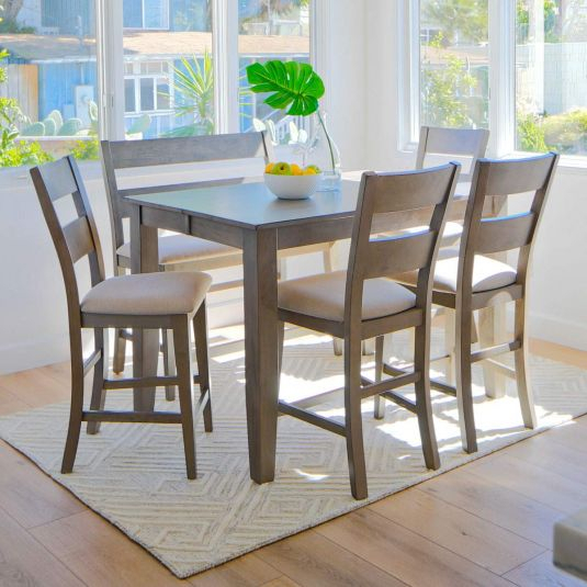 Counter Height Dining Room Table Set | Grey Dining Set For Newest Carelton 36'' Mango Solid Wood Trestle Dining Tables (View 12 of 15)