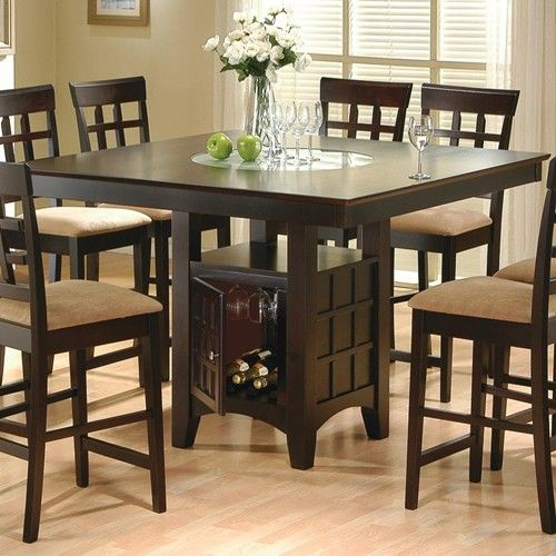 Counter Height Dining Table With Storage Pedestal Base In Most Up To Date Barra Bar Height Pedestal Dining Tables (View 7 of 15)
