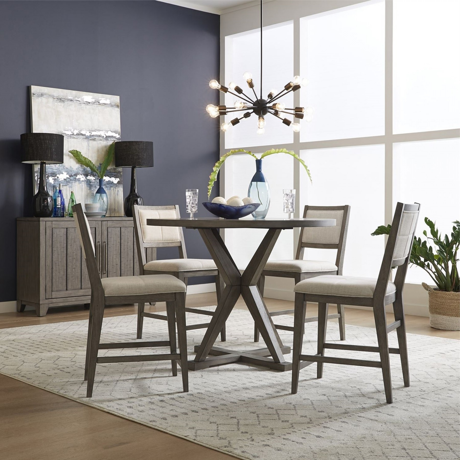 Crescent Creek 5 Piece Counter Set (Table With 4 Stools Pertaining To Newest Genao 35'' Dining Tables (View 11 of 15)