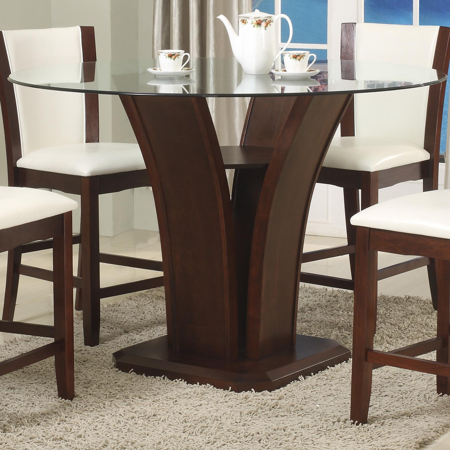 Crown Mark Camelia Espresso Round Glass Top Counter Height Throughout Most Popular Charterville Counter Height Pedestal Dining Tables (View 4 of 15)