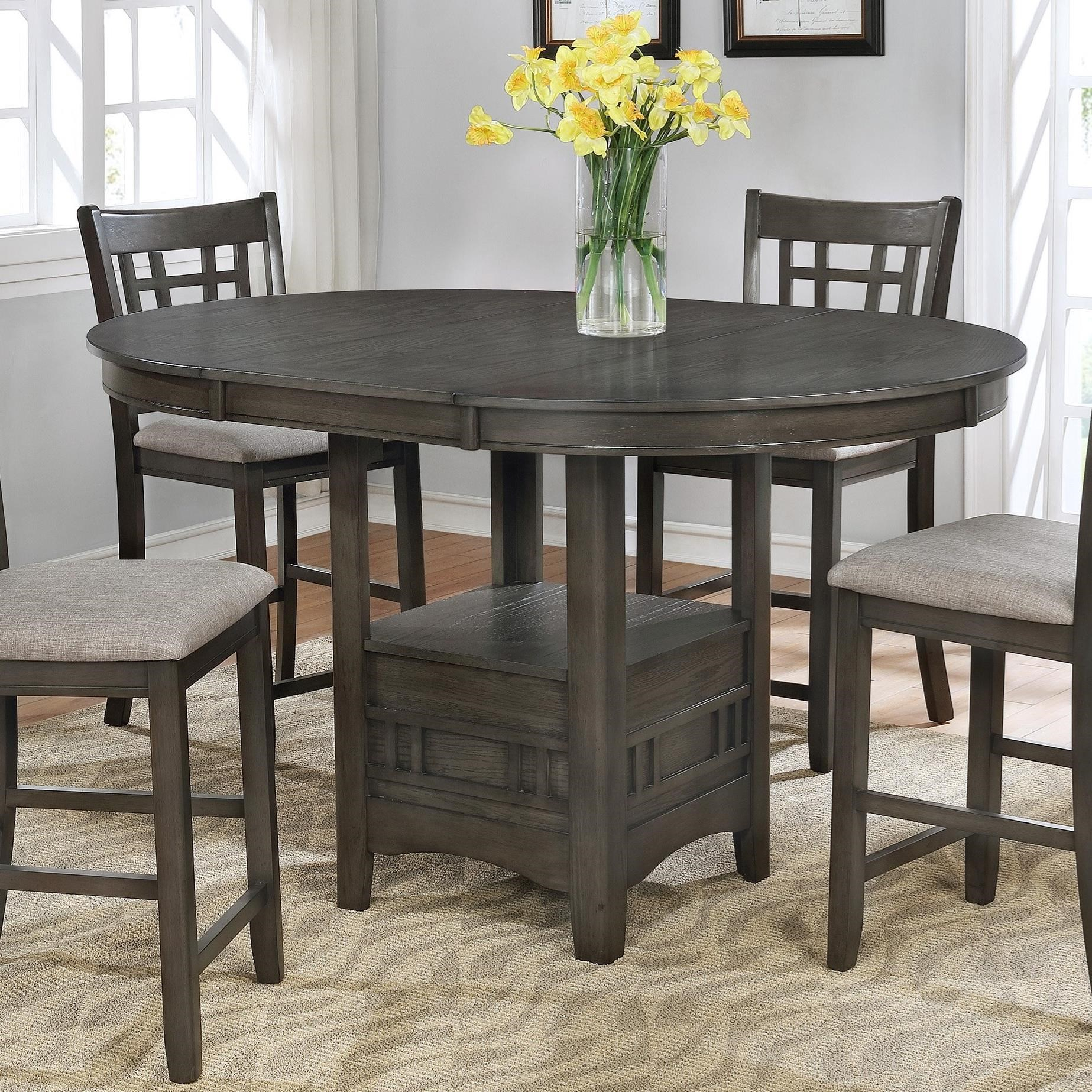 Crown Mark Hartwell Single Pedestal Counter Height Pub Pertaining To Recent Counter Height Pedestal Dining Tables (View 2 of 15)
